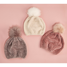 Two's Company Chenille Hat with Fur Pom Pom Pink