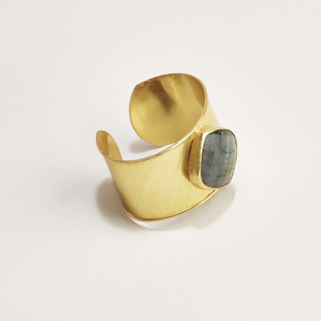 Two's Company Gold Plated Cuff with Labradorite