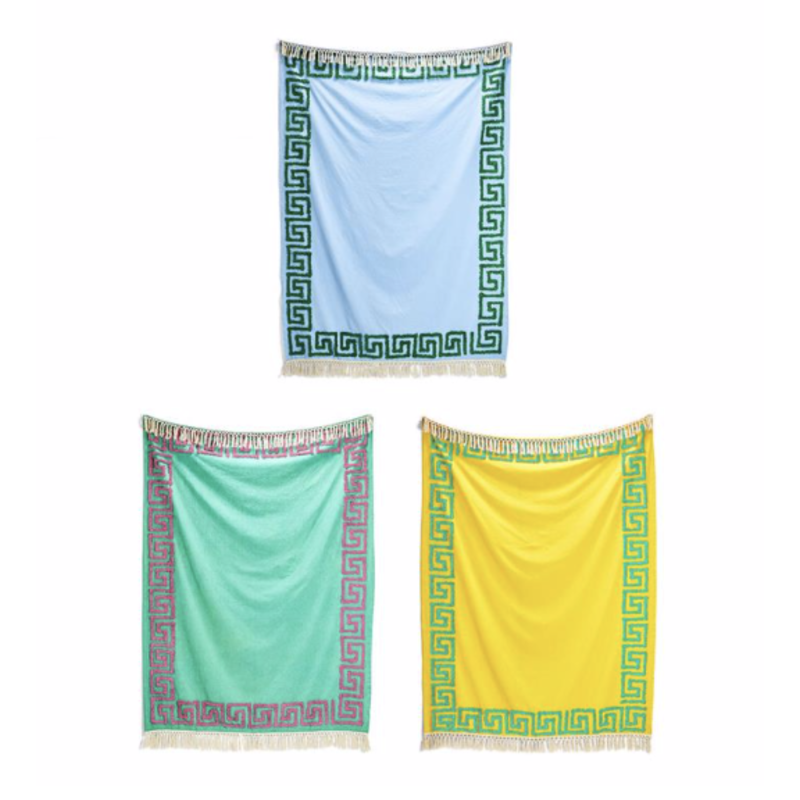 Two's Company Greek Key Tufted Cotton Throw Turquoise