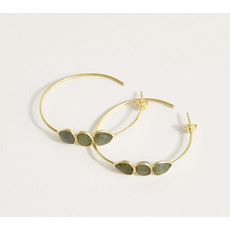 Two's Company Labradorite Three Stone 18K Gold Plated Hoop Earrings