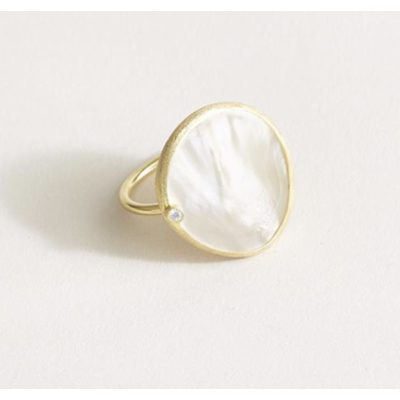 Two's Company Mother of Pearl Gold Plated Adjustable Ring