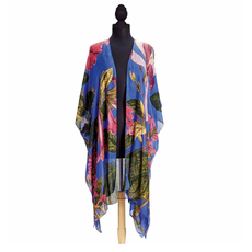 Two's Company Purple Magnolia Long Kimono