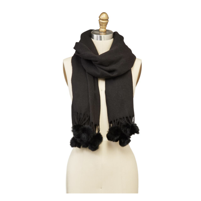Two's Company Scarf with Tassels and Fur Pom Poms- black