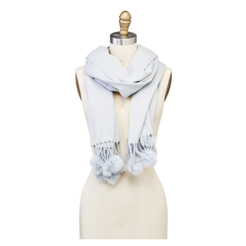 Two's Company Scarf with Tassels and Fur Pom Poms- grey
