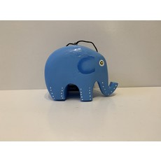 Women of the Cloud Forest Whimsical Elephant Balsa Ornament- blue
