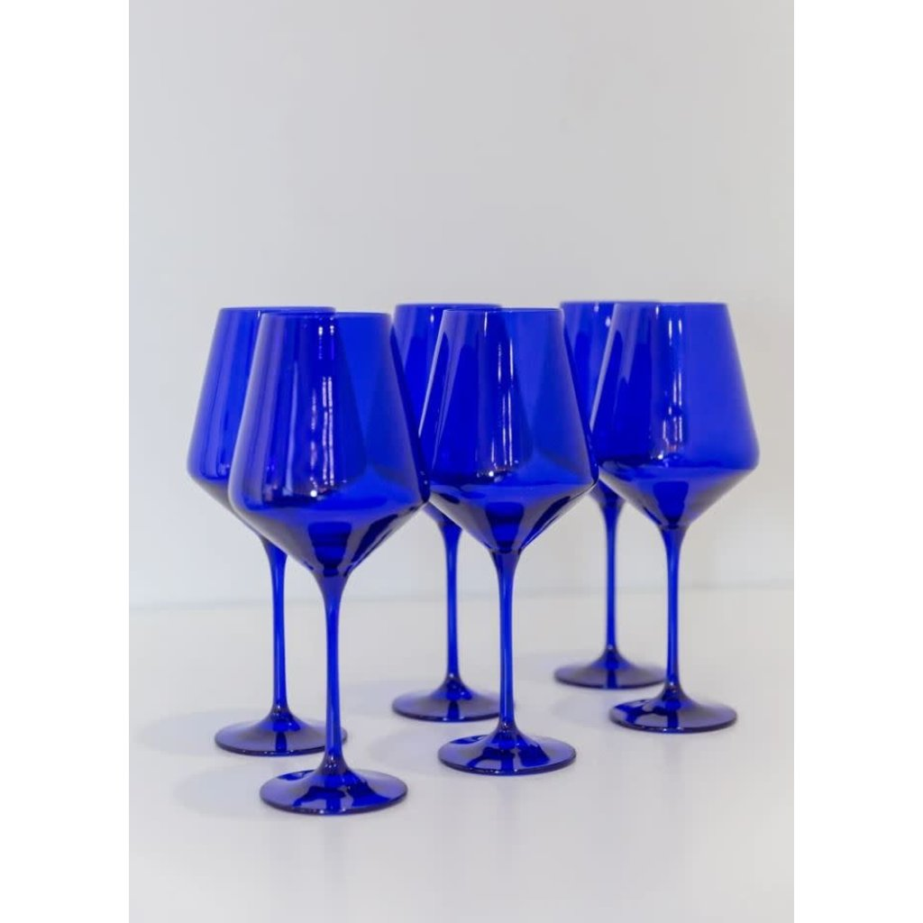 Estelle Estelle Colored Wine Stemware- Royal Blue Set of 6