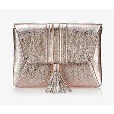 GiGi Handbags Ava Clutch- Rose Gold Crackle Metallic