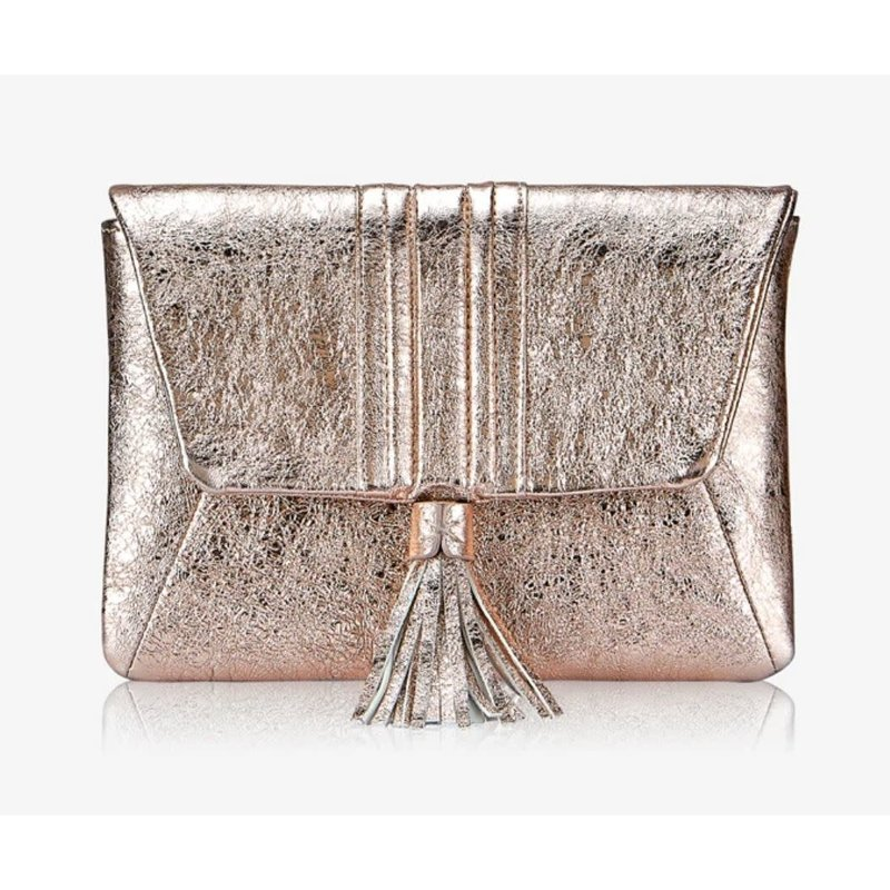 GiGi Handbags Ava Clutch- Rose Gold Crackle Metallic