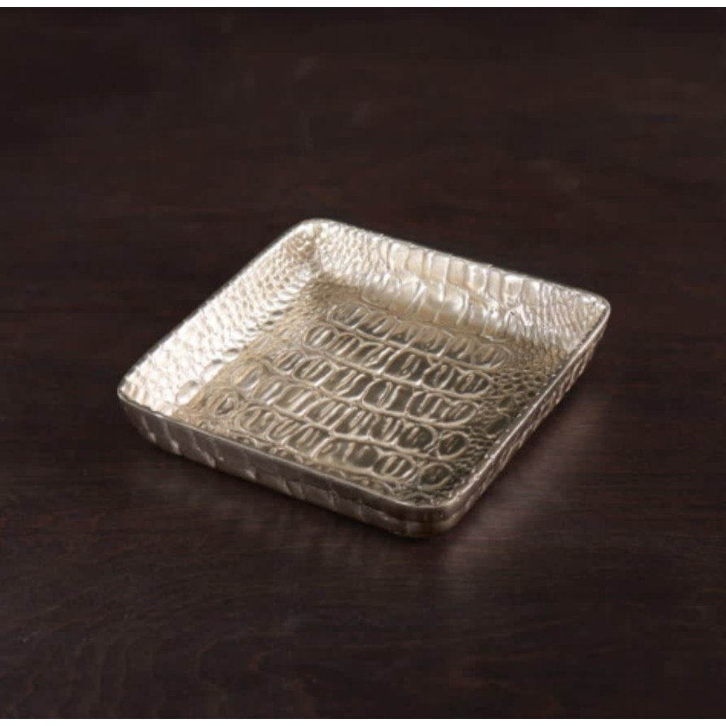 Beatriz Ball Sierra Croc Napkin Box (Gold)  - SMALL