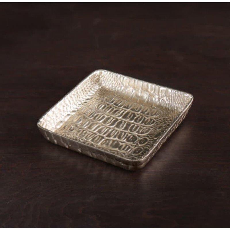 Beatriz Ball Sierra Croc Napkin Box (Gold)  - SMALL
