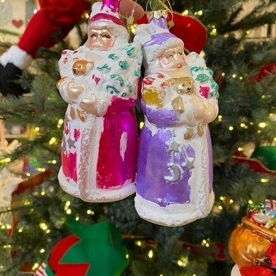 One Hundred 80 Degrees Santa Ornament Glass