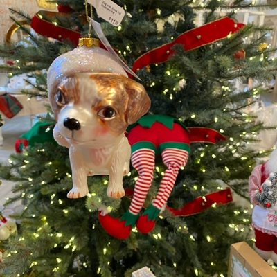 One Hundred 80 Degrees Dog with Santa Hat Ornament