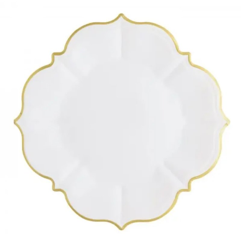 Eid Creations White Linen Lunch Plates