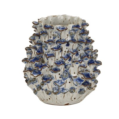 Continental Home Egg Vase with Coral Blue Flowers