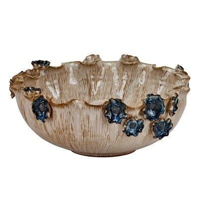 Continental Home Medium Ceramic Bowl with Blue Flowers