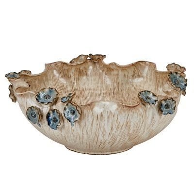 Continental Home Large Ceramic Bowl with Blue Flowers