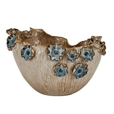 Continental Home Small Ceramic Bowl with Blue Flowers