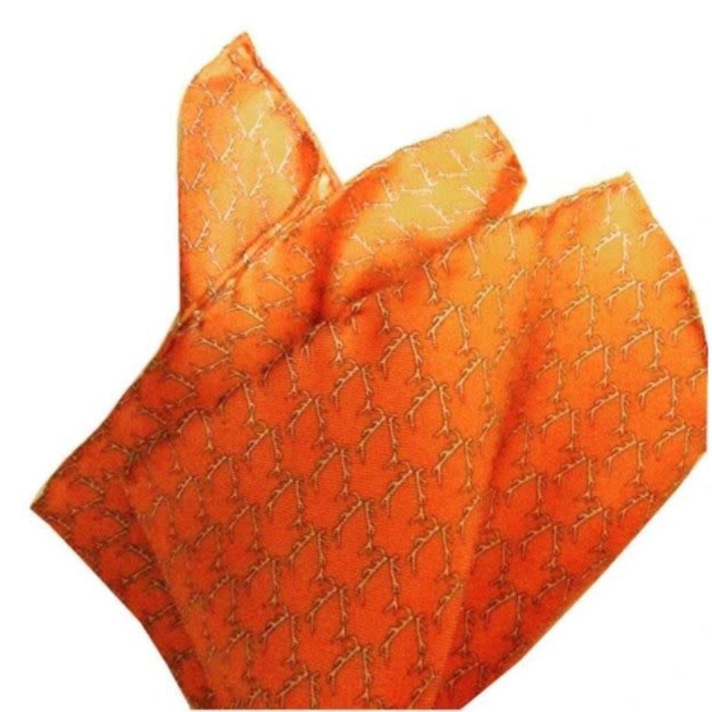 Lazy Jack Press Buckwild Pocket Square- orange