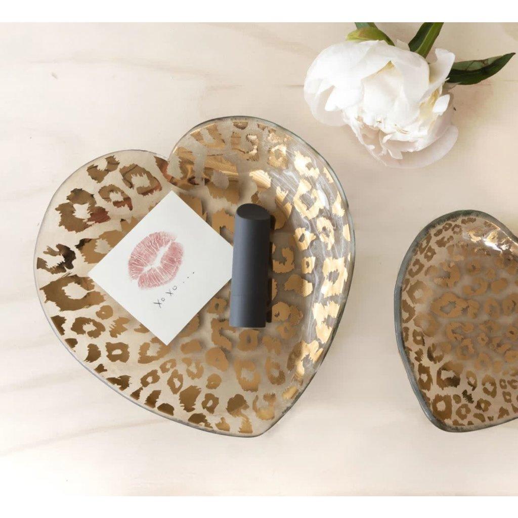 """Annie Glass 7"""" Cheetah Heart Plate"""