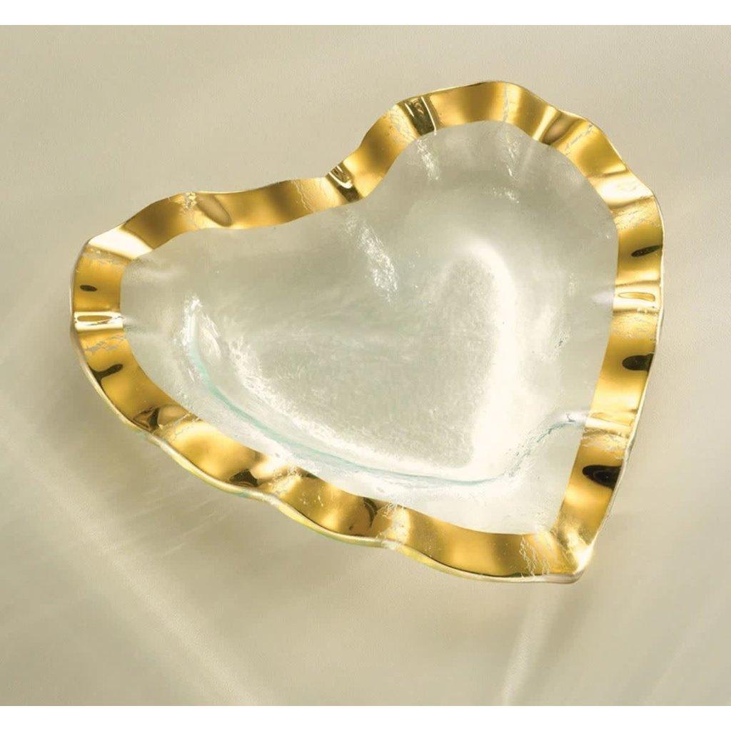 """Annie Glass 8"""" Ruffle Heart Bowl Gold"""