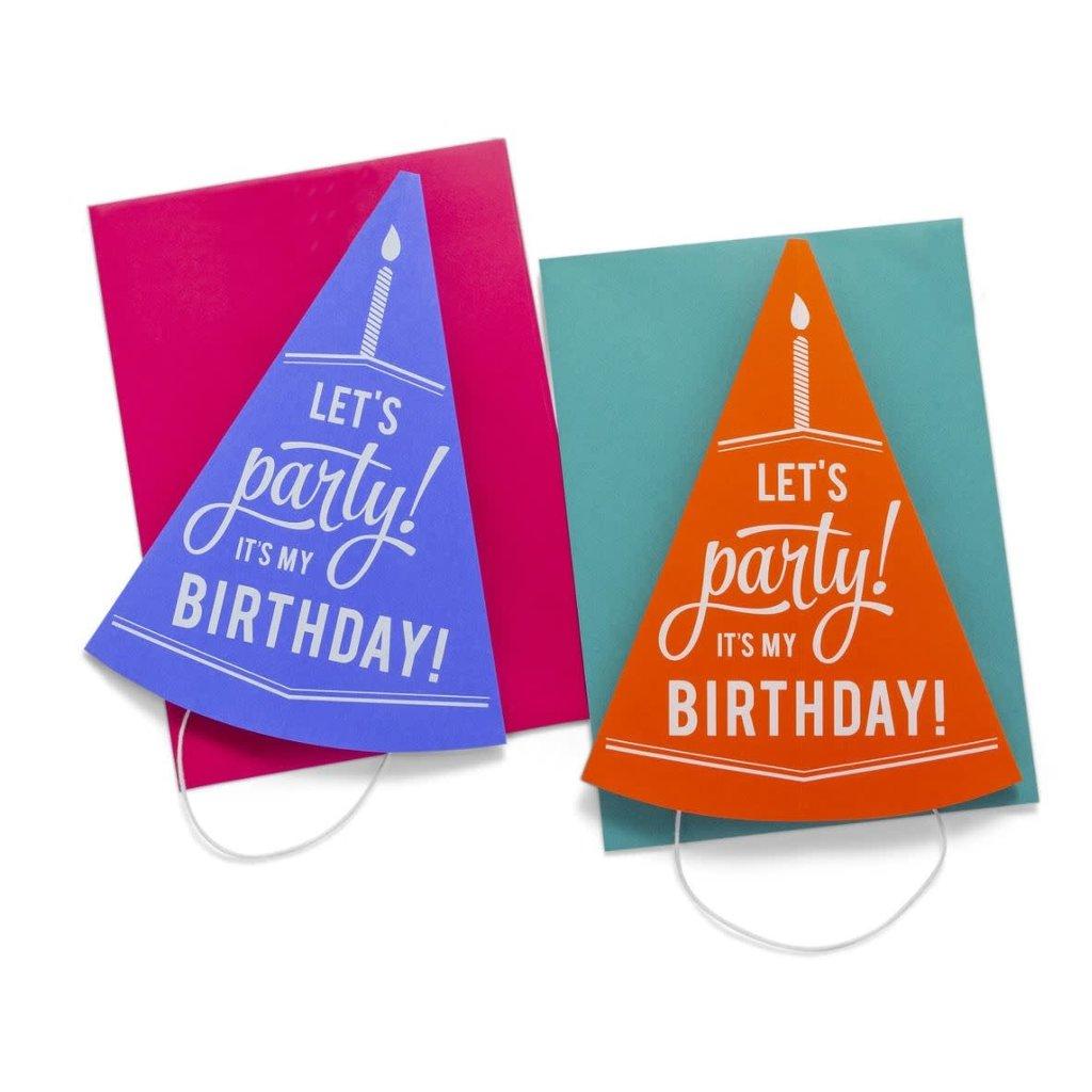 Color Box Letterpress 3D Party Hat- Orange + Blue