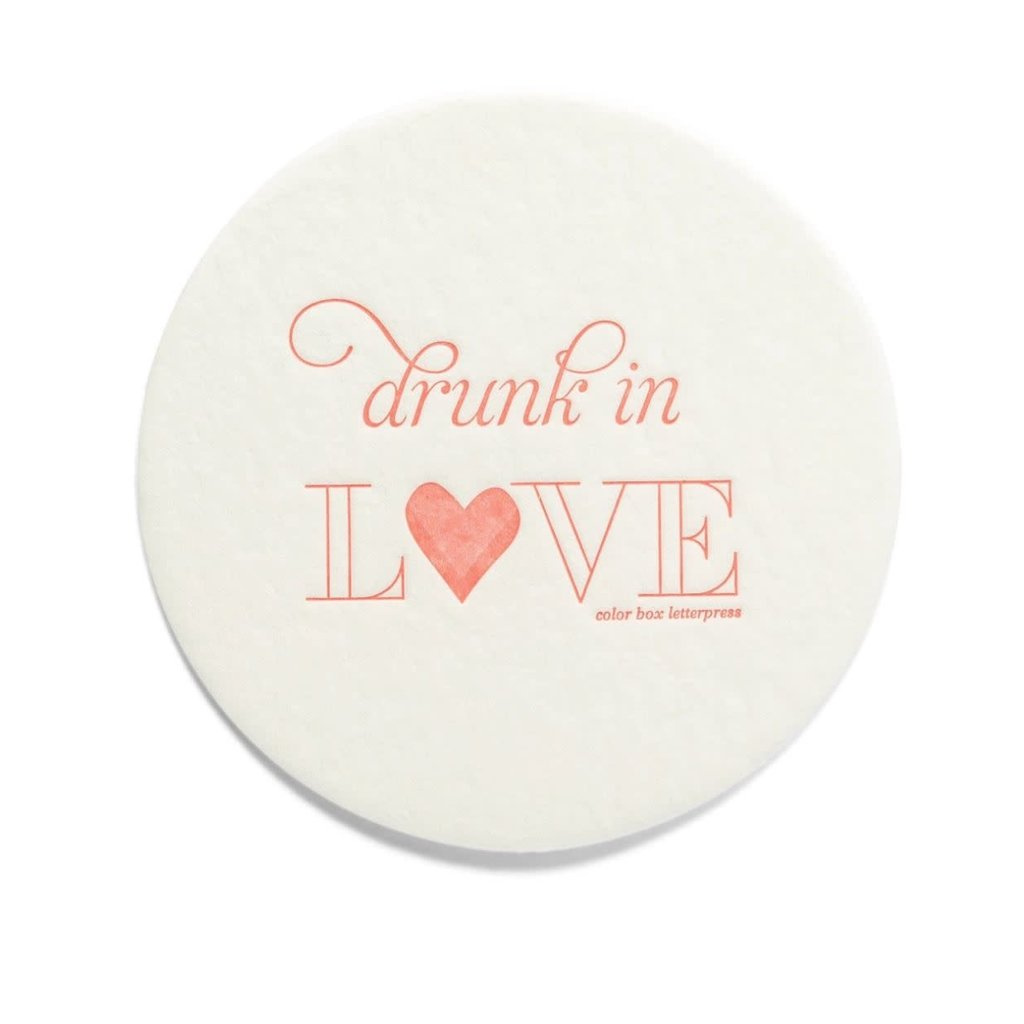 Color Box Letterpress Drunk in Love Coasters- set/10