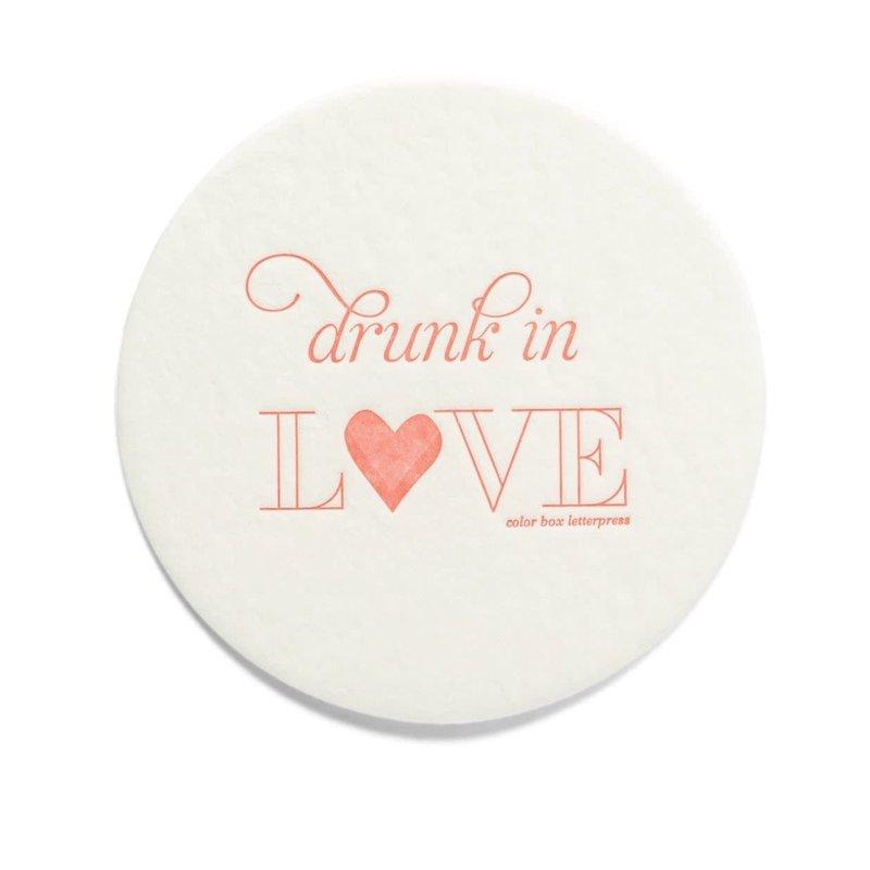 Color Box Letterpress Drunk in Love Coasters- set/10