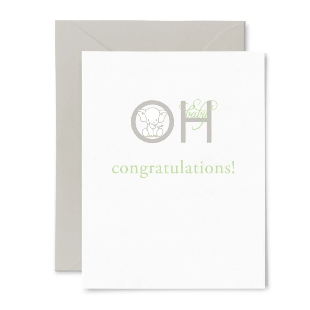 Color Box Letterpress Oh Baby Greeting Card