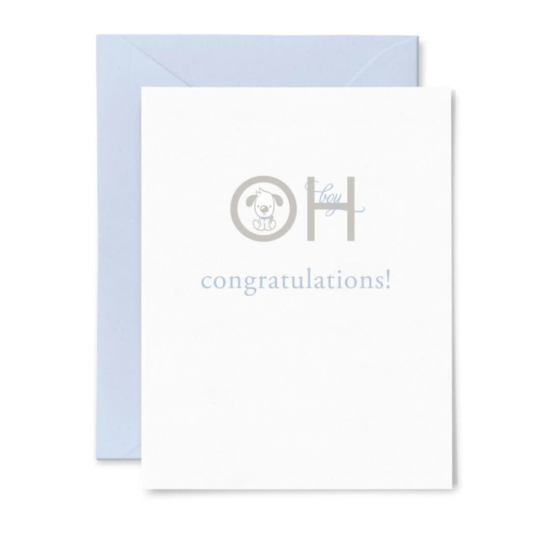 Color Box Letterpress Oh Baby Boy Greeting Card