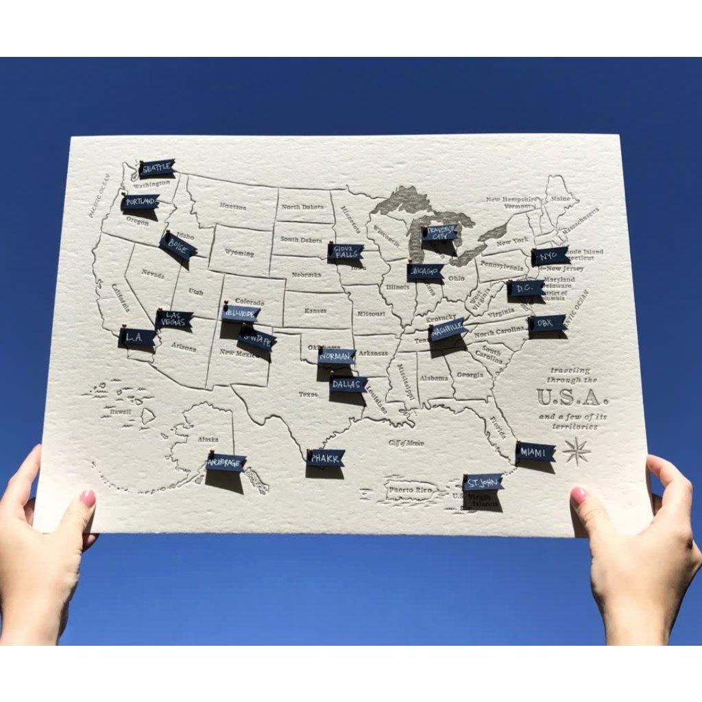 Color Box Letterpress USA Travel Map