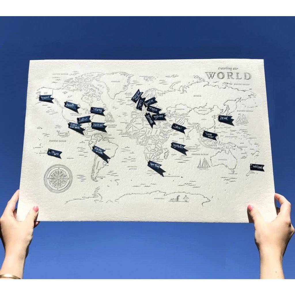 Color Box Letterpress World Travel Map