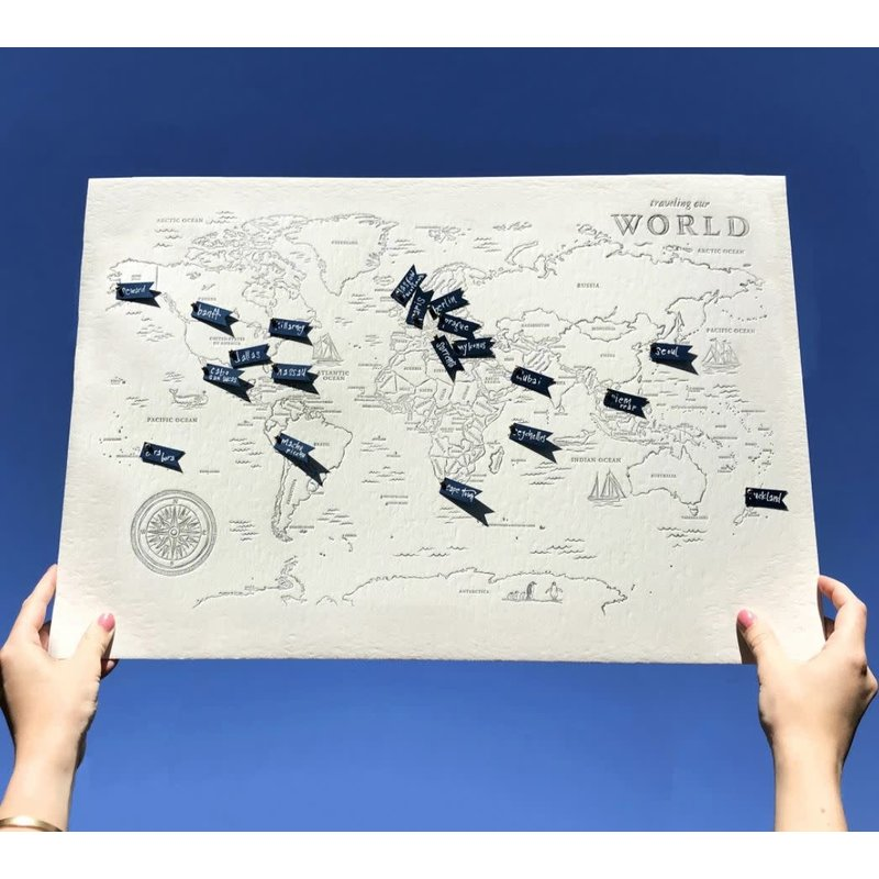 Color Box Letterpress World Travel Map