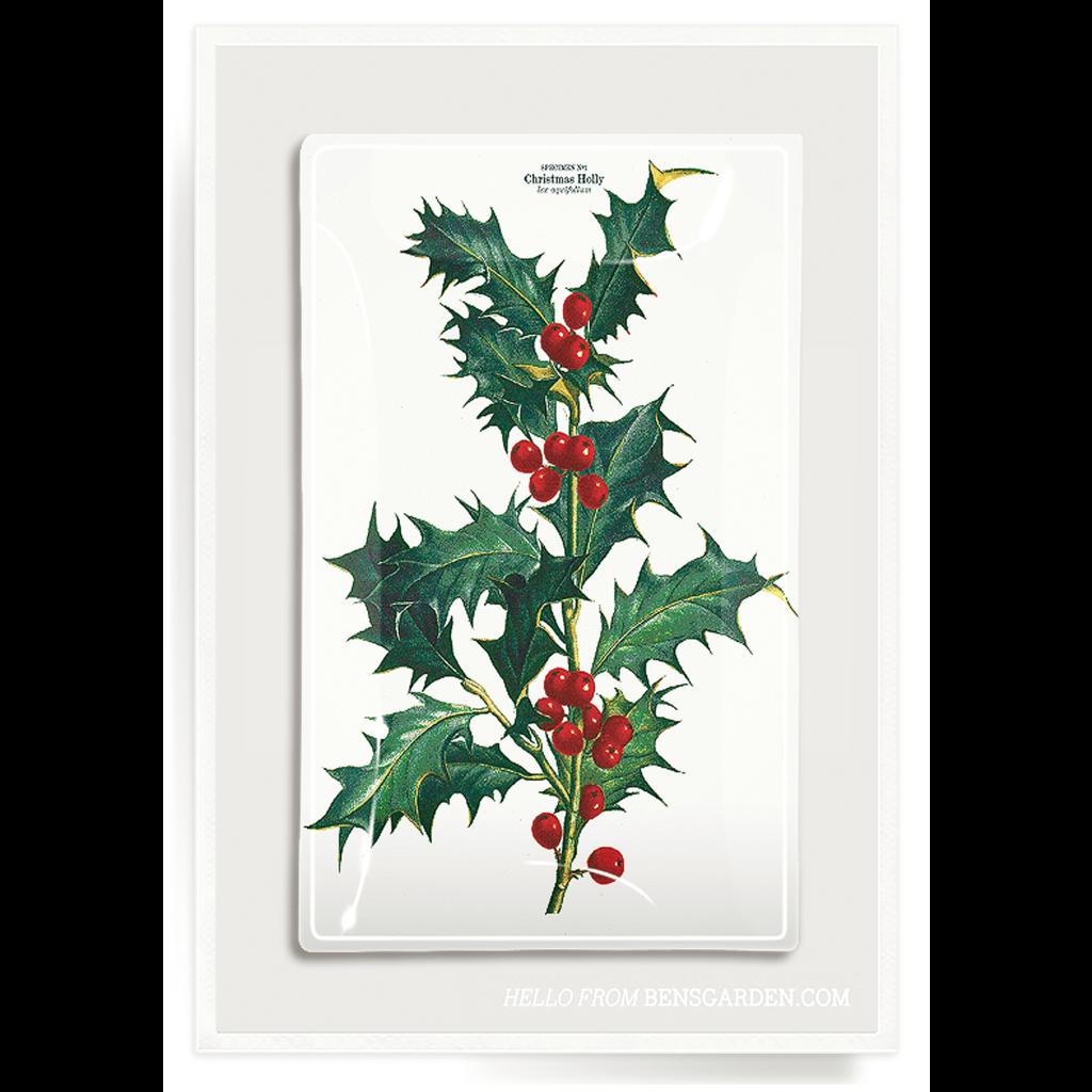 Ben's Garden Christmas Holly 4''x9'' decoupage plate