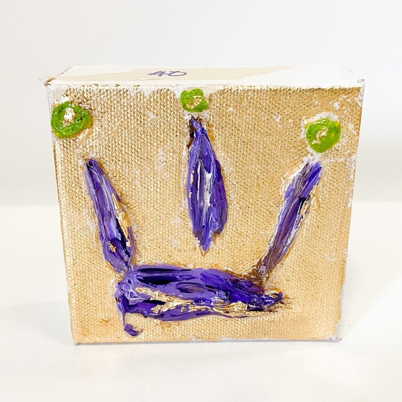 Claudia Nelson Purple Crown on Small Canvas 4 x 4
