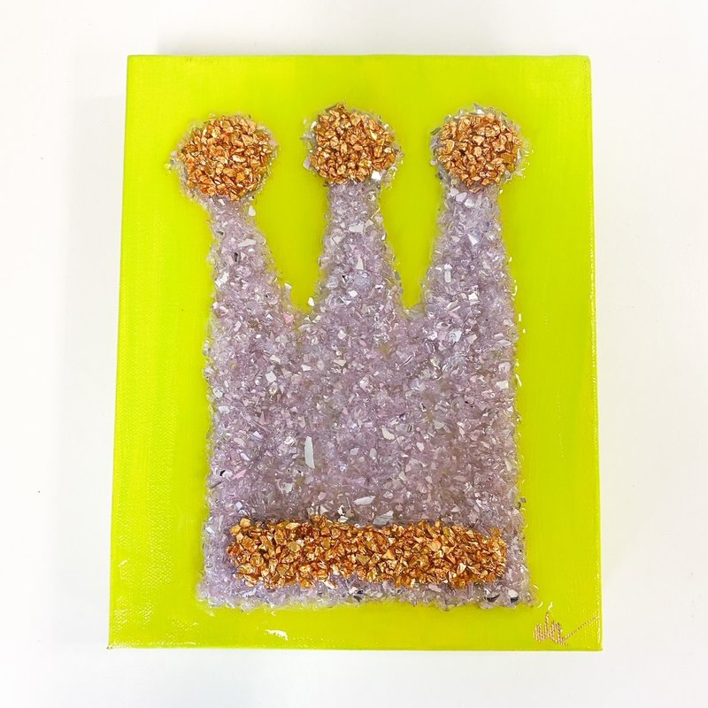 Claudia Nelson Large Purple Textured Crown with Bright Green 8 x 10