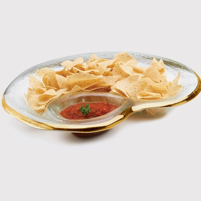 Annie Glass 17'' x 12 1/2'' Chip & Dip Bowl