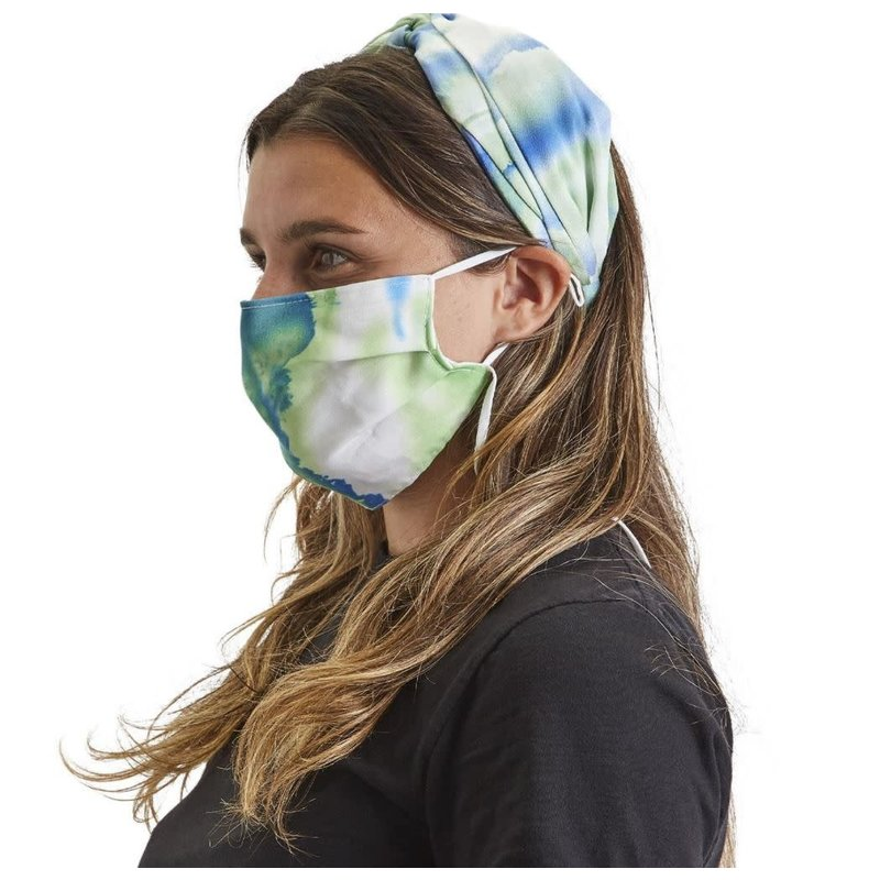 Two's Company Tie Dye Stain-Like Twisted Wide Headband and Matching Mask