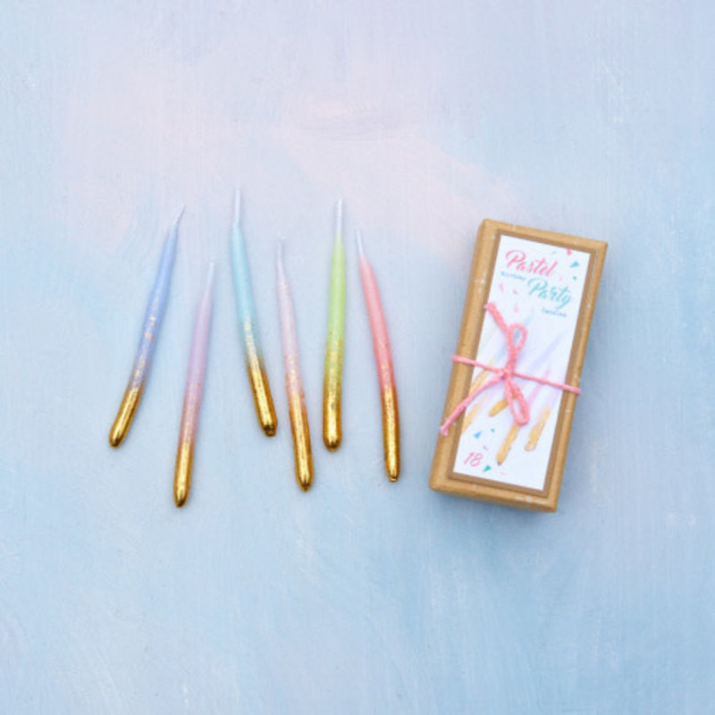 One Hundred 80 Degrees Pastel Party Candle Box Set of 18