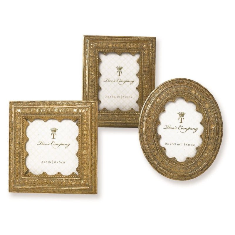 Two's Company Vermeil Ornate Photo Frame- Square