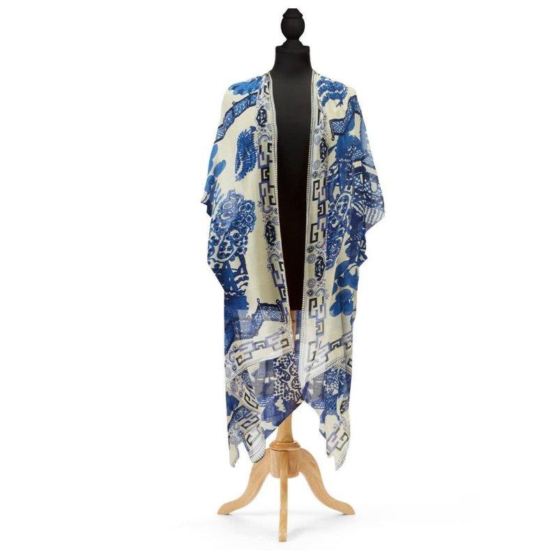 Two's Company Giant Willow Blue Long Kimono