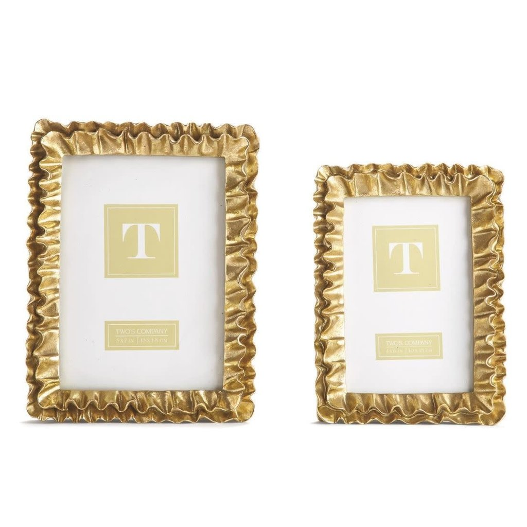 Two's Company Gold Ruffles 5x7 Frame