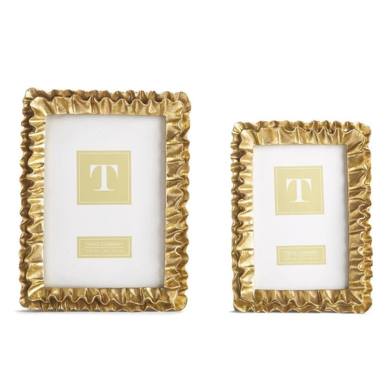 Two's Company Gold Ruffles 4x6 Frame