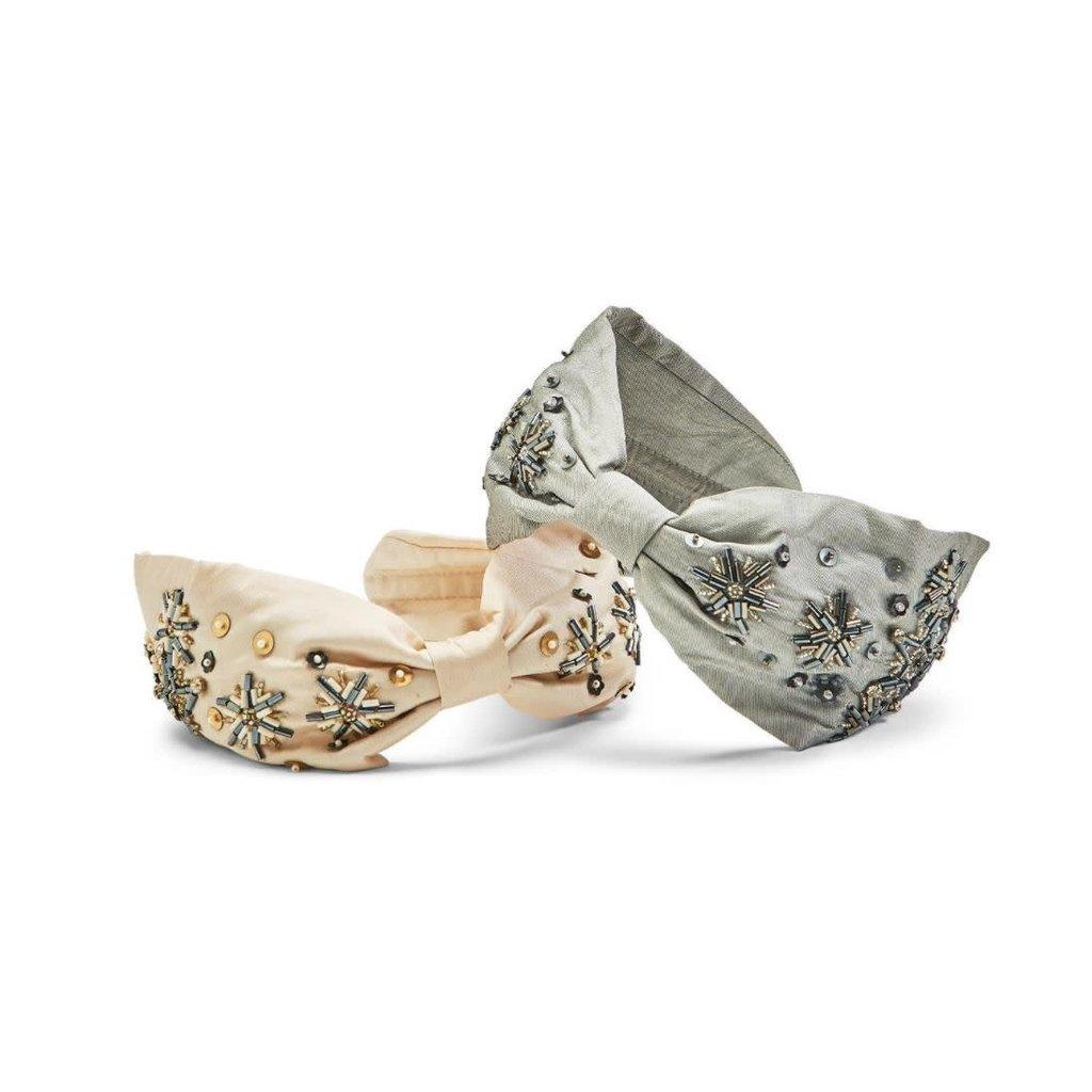 Two's Company Hand Beaded Silk-Like Headband- Silver