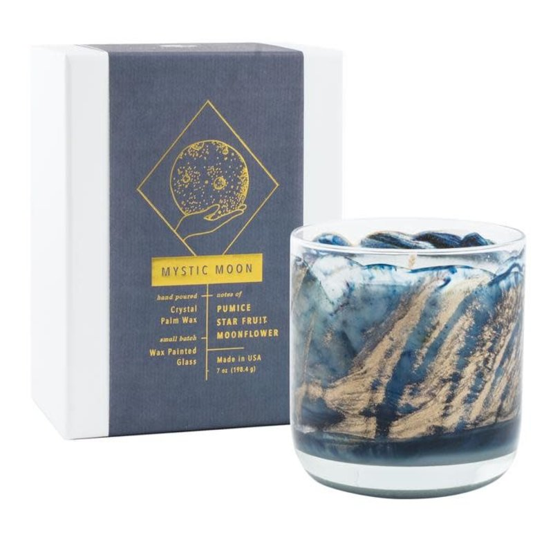 Northern Lights Mystic Moon Wax Painted Candle 8 oz