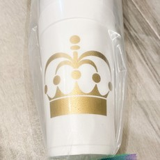 Elle Paperie Gold Crown Foam Cups- 20oz Metallic Gold Ink