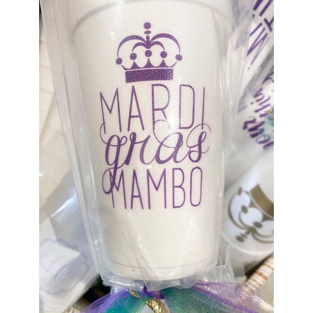 Elle Paperie Mardi Gras Mambo Foam Cups- 20oz Purple Ink