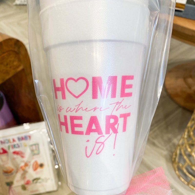 Elle Paperie Home Is Where The Heart Is Foam Cups- 20oz Magenta Ink
