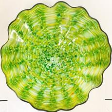 Ridge Walker Glass Green Wavy Swirl Plate