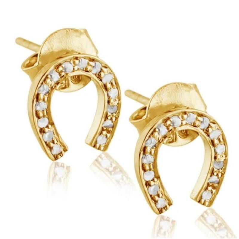 Benazir Collection Pave Diamond Horseshoe Studs