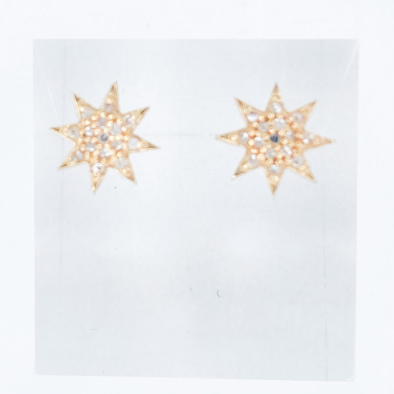 Benazir Collection Pave Diamond Star Studs in Gold Finish